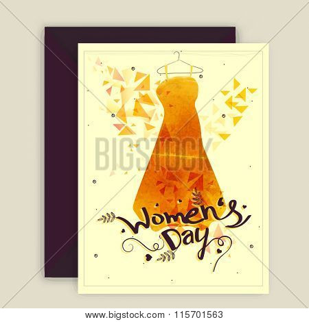 Elegant greeting card design with illustration of a modern dress for Happy Women's Day celebration.