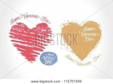 Graphical heart symbol. Illustration hand-drawn and converted to vector. Can be used as an element for postcard Valentines day.