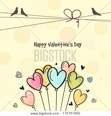 Colorful hearts decorated beautiful greeting card for Happy Valentine's Day celebration.