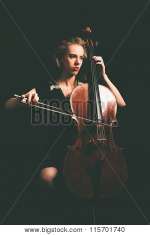 Serious Attractive Young Classical Cellist