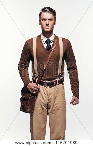 Scouting Uniform Fashion Man Against White Background.