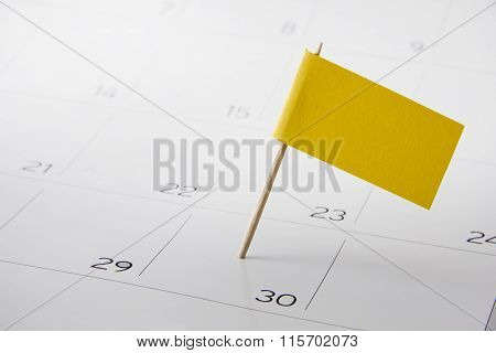 Event day on calendar marked with flag