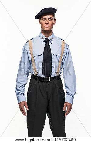 Airforce Uniform Fashion Man Against White Background.