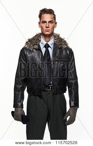 Pilot Uniform Fashion Man Against White Background.