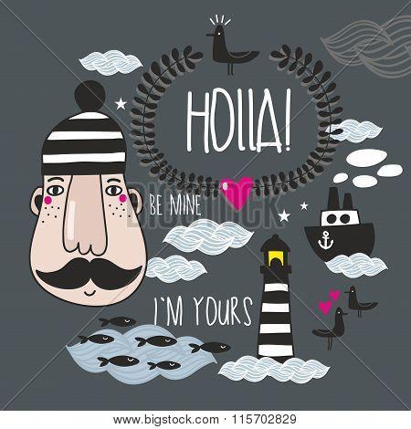 Romantic set of sea life illustrations.