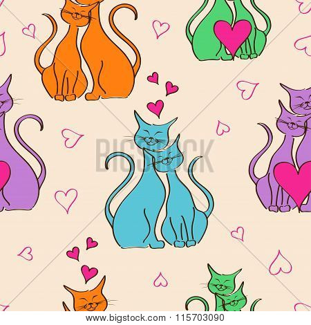 Seamless Pattern With Pair Of Lovers Cats