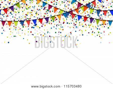Seamless Garland And Confetti Background