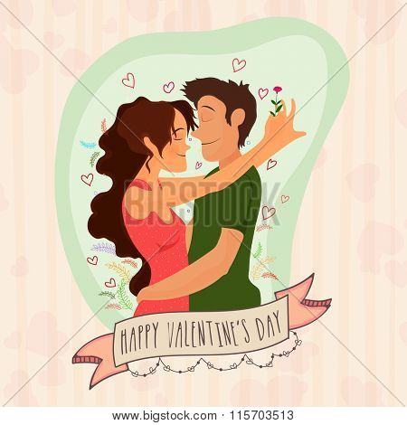 Beautiful greeting card with young couple in love on hearts decorated background for Happy Valentine's Day celebration.
