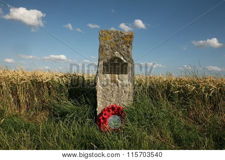 WATERLOO, BELGIUM - JULY 15, 2010: Monument to British soldiers on the battlefield of the Battle of Waterloo (1815) near Brussels, Belgium.