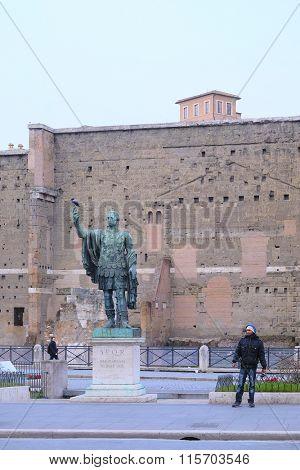 Roma, Italy, January, 16, 2016: Ancient statue in Roma, Italy