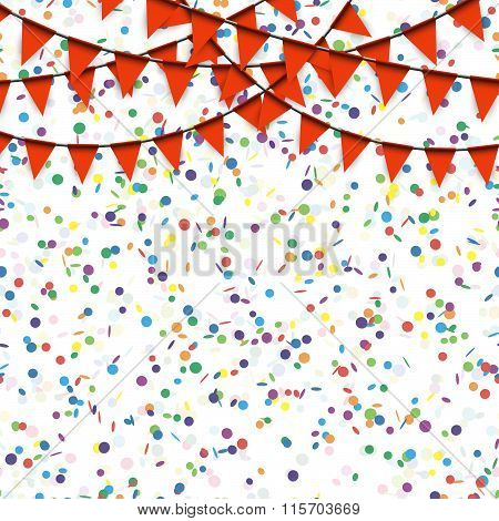 Garlands And Confetti Background