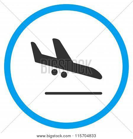 Aiplane Landing Circled Flat Icon