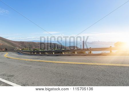 highway with Golden Gate Bridge background, San Francisco, USA.