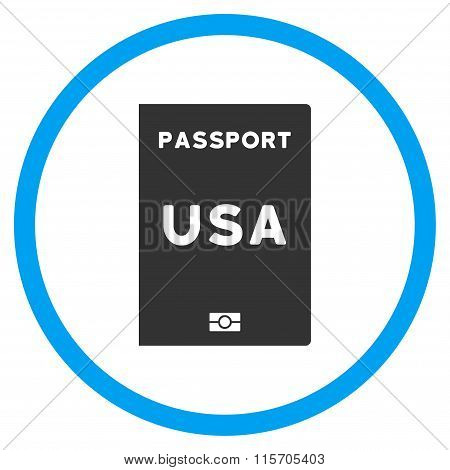 American Passport Rounded Flat Icon