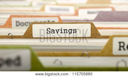 File Folder Labeled as Savings.