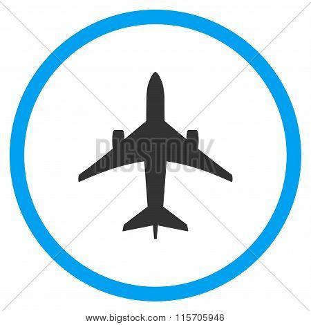 Jet Plane Circled Flat Icon