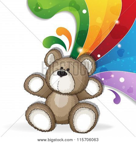 Teddy Bear With Rainbow
