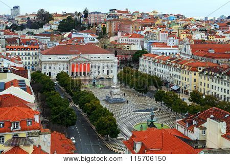 View Of Lisbon And The Rossio Square, Portugal