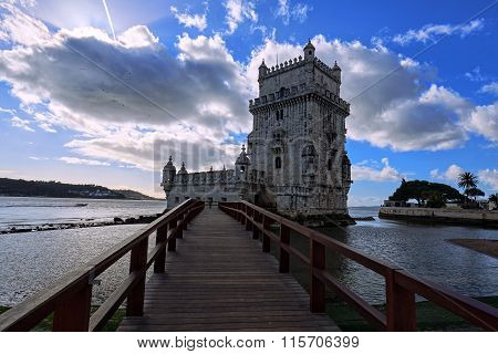 Belem Tower In Lisbon On The River Tagus, Portugal