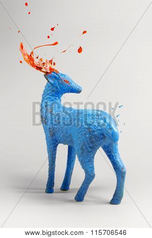 Mysterious Blue Deer With Bursting Paint