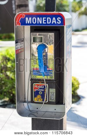 Blue Public Phone Closeup Outdoors