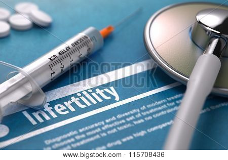 Infertility. Medical Concept on Blue Background.