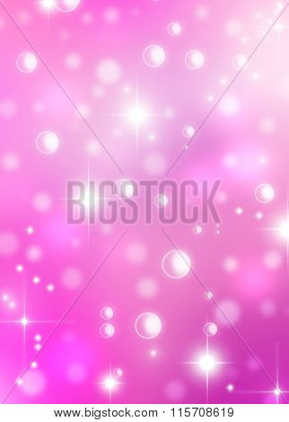 Magic Happy Holidays lights sparkling pixie dust pink background with stardust and shining stars.