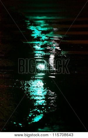 Abstract reflections in puddle