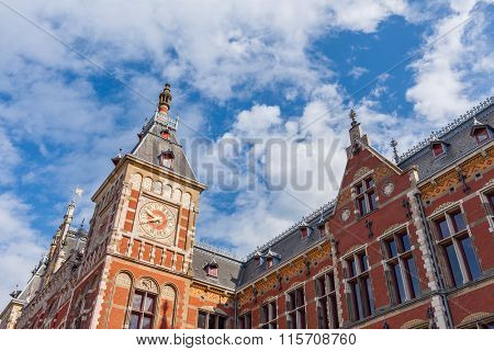 Fragment of Central train station building in Amsterdam, Netherlands.