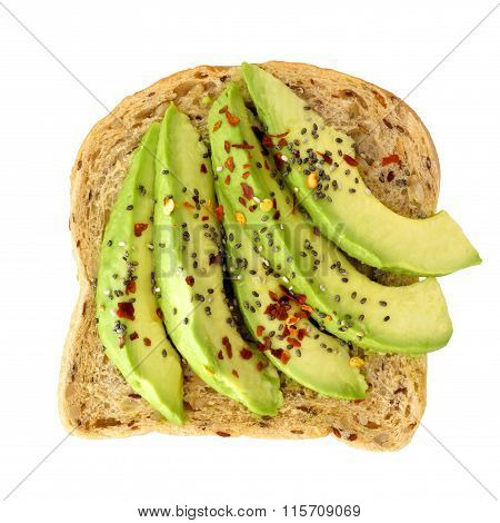 Open avocado sandwich with chia seeds isolated over white