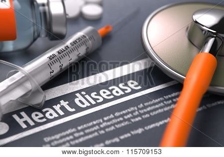 Heart disease - Printed Diagnosis on Grey Background.
