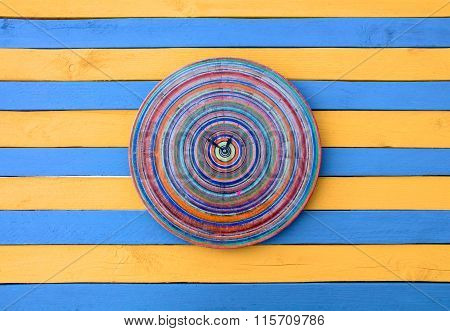 Vintage Creative Clock Blue And Yellow Striped Wood Texture Surface