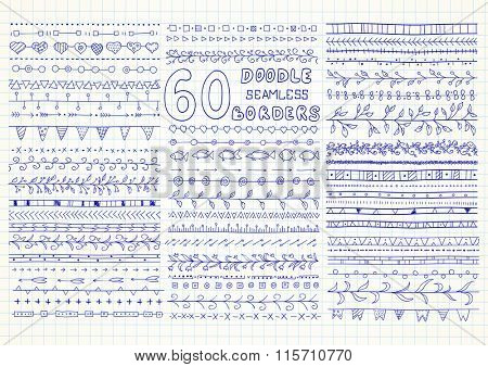 Set of 60 vector seamless borders in doodle style (included hearts, flowers, arrows, fish, ivy, flags and geometric elements). Can be used for doodle or hand drawn design