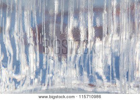 Frozen Ice Block Background In Winter