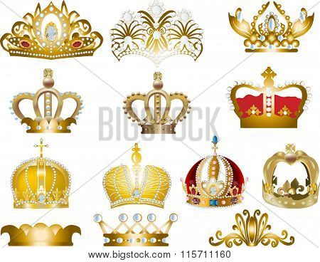 illustration with thirteen crowns isolated on white background