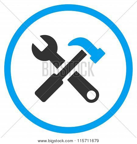 Hammer And Wrench Rounded Icon