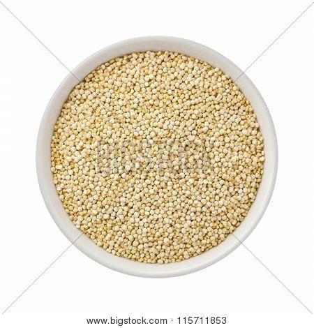White Pearl Quinoa In A Ceramic Bowl