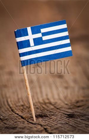 Stylized flag of Greece on wooden background