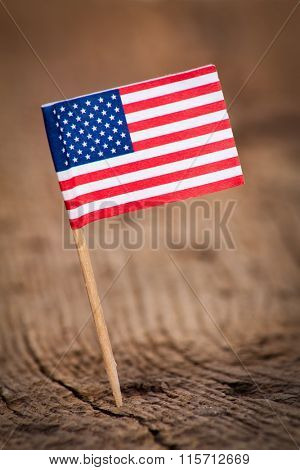 Stylized flag of the United States on wooden background