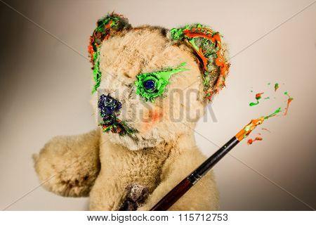 Teddy Bear As An Artist With Paintbrush