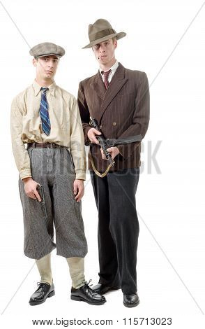 Two Gangster In Vintage Clothing, With Guns, On White