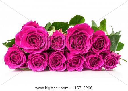 Bouquet of roses on a white background.