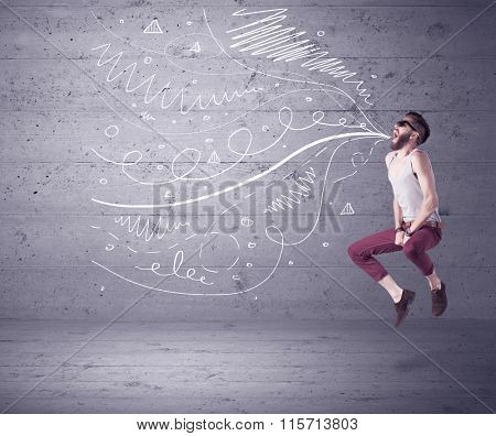 A mad hipster guy with beard shouting drawn white lines, curves on concrete urban wall illustration background concept