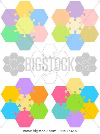 Hexagonal jigsaw puzzles