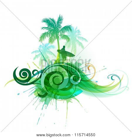 Vector palm trees and a man with a surfboard