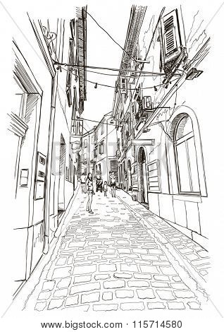 Street of old Mediterranean town Piran, Slovenia. Vector drawing.