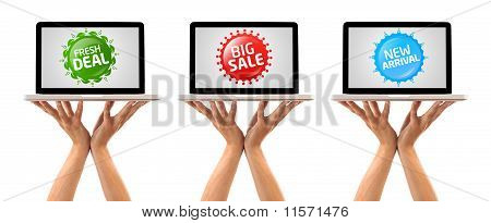 Hand Holding Laptop With Colorful Sale Label Collection