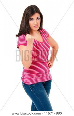 Portrait of young offended attractive girl - isolated on white background