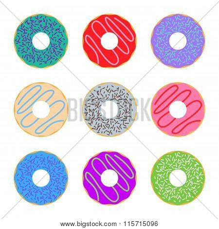 Donut icon set colorful