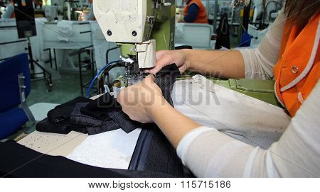 Production Line In A Sewing Factory